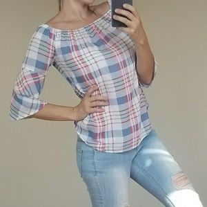 Cato pink plaid top